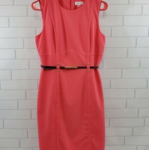 Calvin Klein Belted Sleeveless Dress Coral Colored